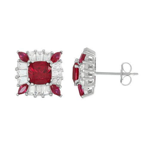 Sterling Silver Lab-Created Ruby & White Sapphire Halo Stud Earrings
