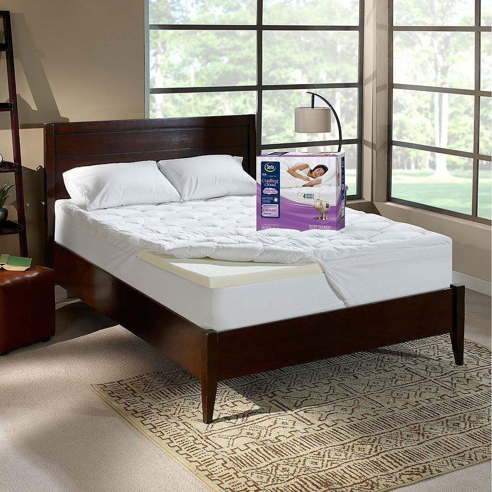 Serta 3 inch memory foam mattress topper - Serta Cradlingcloud 4 Inch Memory Foam Mattress Topper