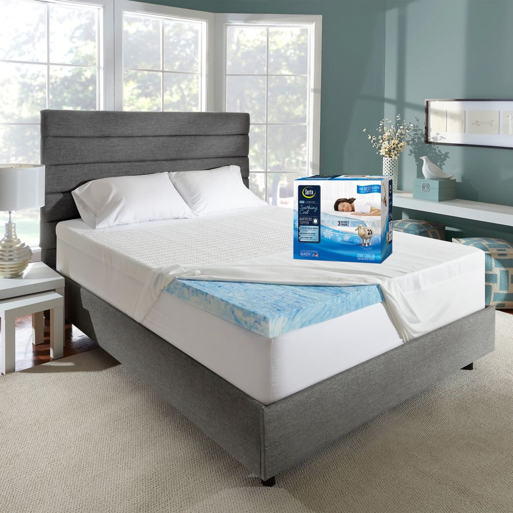 serta soothingcool 3 inch gel memory foam mattress topper