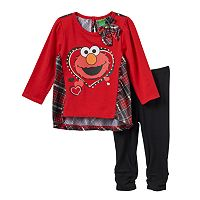 Baby Girl Elmo Plaid Back Top & Leggings Set