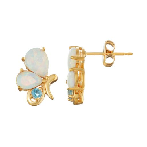 18k Gold Over Silver Blue Topaz & Lab-Created White Opal Butterfly Stud Earrings