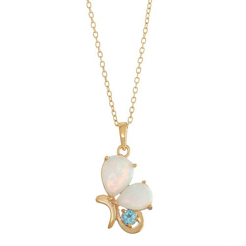 18k Gold Over Silver Swiss Blue Topaz & Lab-Created White Opal Butterfly Pendant