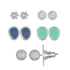 LC Lauren Conrad Textured Teardrop & Round Nickel Free Earring Set