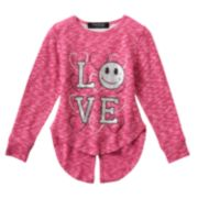 "Girls 4-6x Freestyle Revolution Marled ""Love"" Floral Lace Split-Back Top"