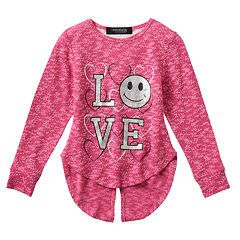 Girls 4-6x Freestyle Revolution Marled 'Love' Floral Lace Split-Back Top