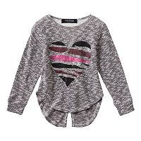 Girls 4-6x Freestyle Revolution Marled Heart Floral Lace Split-Back Top