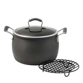 Epicurious 8-qt. Hard-Anodized Nonstick Aluminum Stockpot with Meat Rack