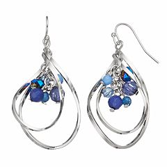 Blue Beaded Cluster Helix Drop Earrings