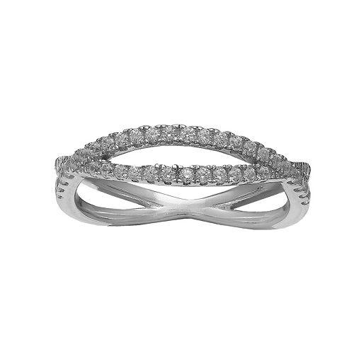 PRIMROSE Sterling Silver Cubic Zirconia Pave Crisscross Ring