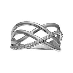 PRIMROSE Sterling Silver Cubic Zirconia Crisscross Multi Row Ring