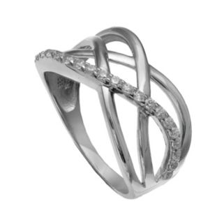 PRIMROSE Sterling Silver Cubic Zirconia Crisscross Multi Row Ring