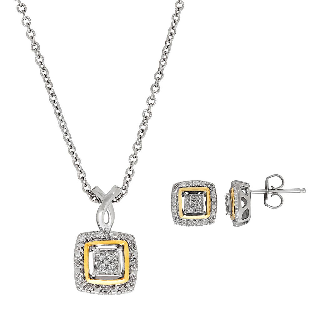Sterling Silver & 14k Gold Diamond Accent Square Pendant & Stud Earring Set