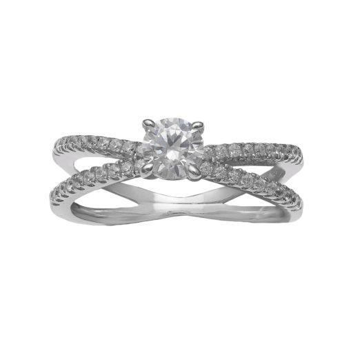 PRIMROSE Sterling Silver Cubic Zirconia Split Shank Ring