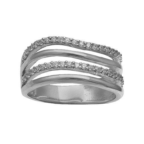 PRIMROSE Sterling Silver Cubic Zirconia Multi Row Ring