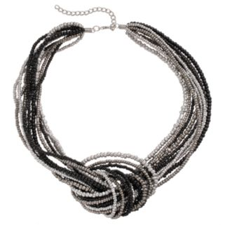 Black Seed Bead Knotted Chunky Necklace