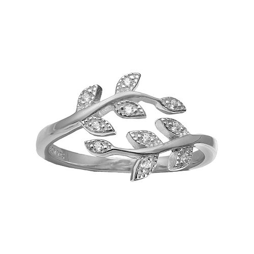 PRIMROSE Sterling Silver Cubic Zirconia Pave Vine Bypass Ring