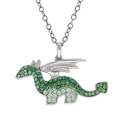 Artistique Sterling Silver Crystal Dragon Pendant Necklace