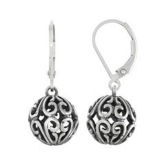 Sterling Silver Filigree Ball Drop Earrings