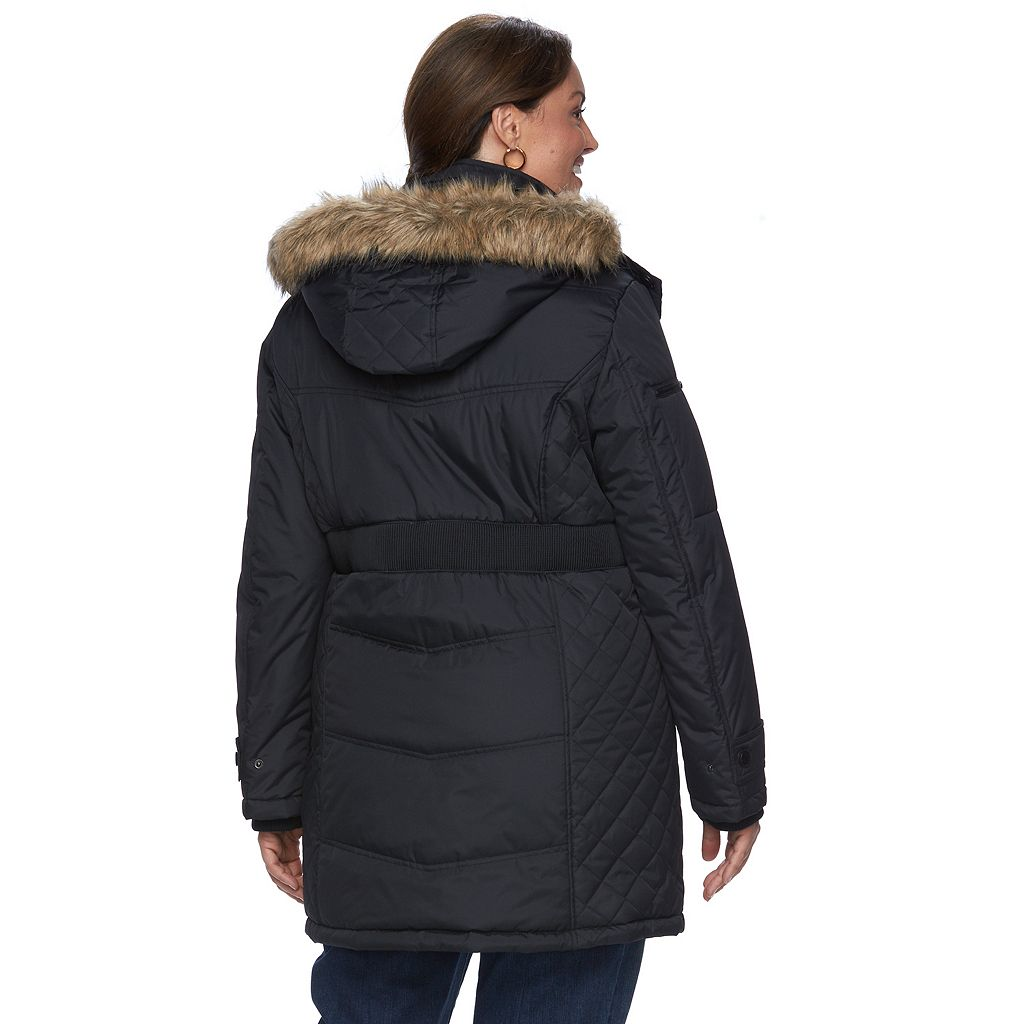 Plus Size Hemisphere Hooded Storm Coat