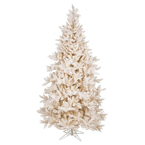 Pre Lit Flocked Artificial Christmas Trees: Vickerman 7.5-ft. Pre-Lit Flocked Vintage Fir Artificial