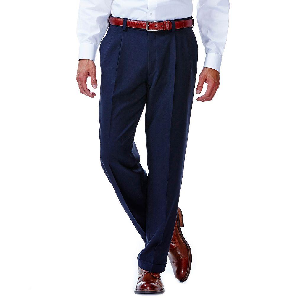 Men's Haggar eCLo Stria Classic-Fit Pleated Dress Pants