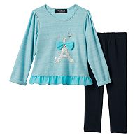Girls 4-6x Freestyle Revolution Chiffon Back Eiffel Tower Metallic Top & Leggings Set
