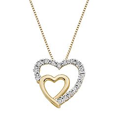 18k Gold Over Silver 1/10 Carat T.W. Diamond Double Heart Pendant