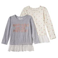 Girls 4-6x Freestyle Revolution 2-Pack Drop-Waist Hem Pink Glitter Tops