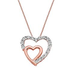 18k Rose Gold Over Silver 1/10 Carat T.W. Diamond Double Heart Pendant