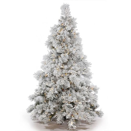 Vickerman 7 5 Ft Pre Lit Flocked Alberta Artificial Christmas Tree