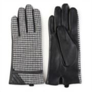 Women's Journee Collection Leather Houndstooth Lined Gloves