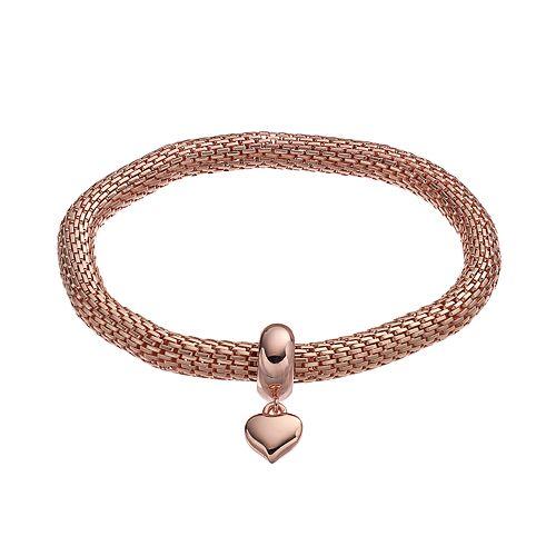 Heart Charm Mesh Stretch Bracelet