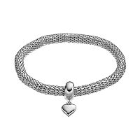 Heart Charm Mesh Stretch Bracelet
