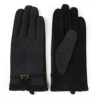 Women's Journee Collection Suede Leather & Corduroy Gloves