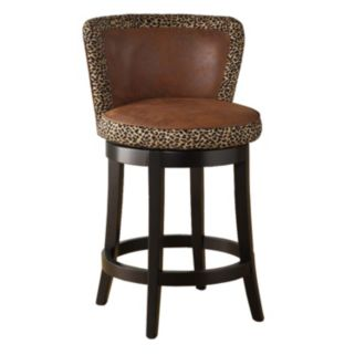 "Armen Living Ivy 26"" Leopard Swivel Counter Stool"