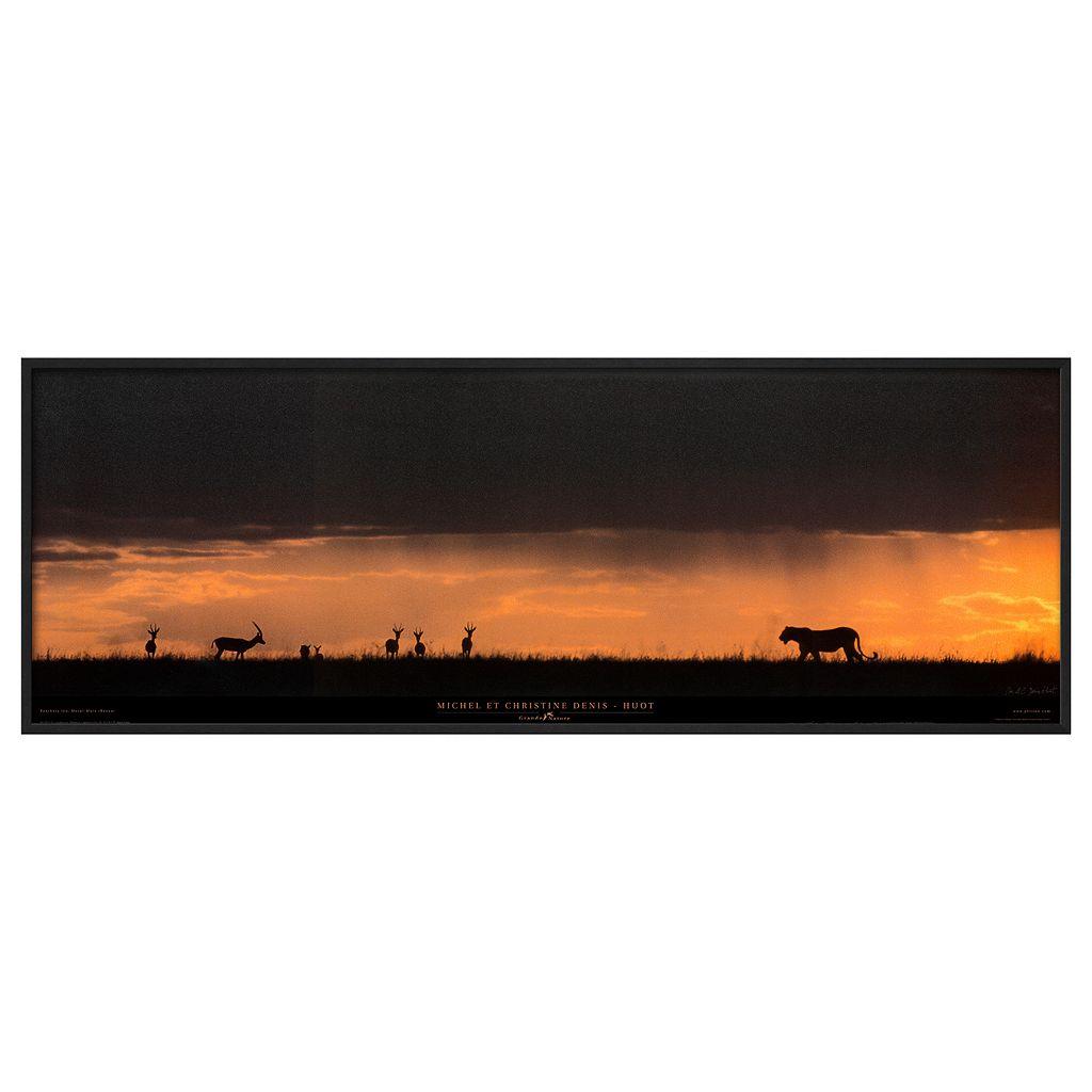 Art.com Lion Hunting Masai-Mara Kenya Framed Wall Art