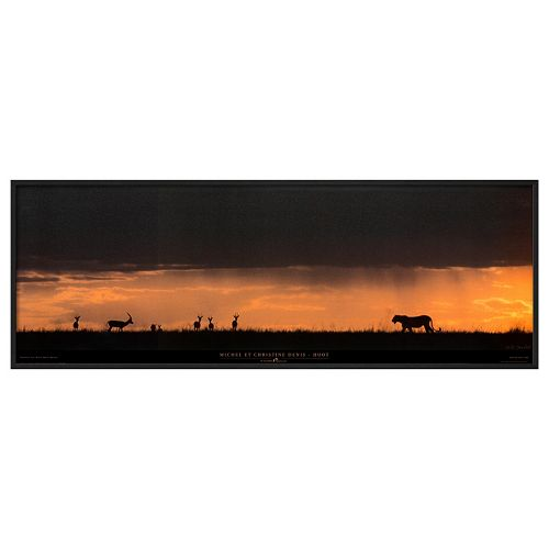 Art.com Lion Hunting Masai-Mara Kenya Framed Wall Art