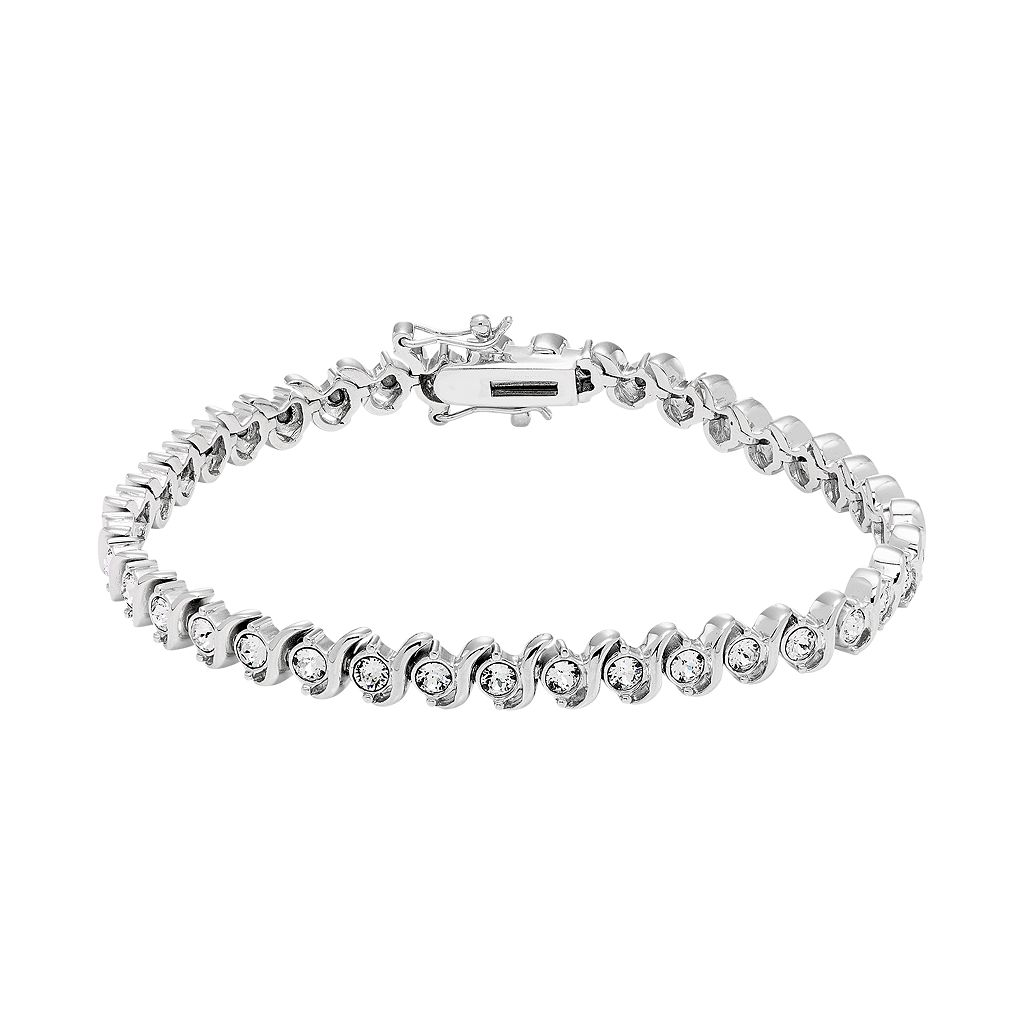 Diamond Essence Sterling Silver Crystal S Link Tennis Bracelet