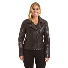 8b3277e38f7 Plus Size Excelled Asymmetrical Leather Motorcycle Jacket