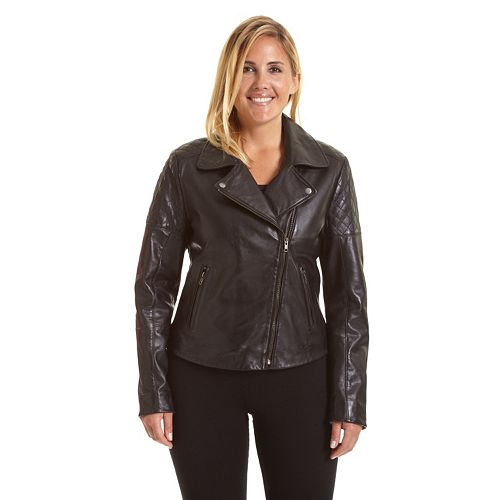 c685a87df3f Plus Size Excelled Asymmetrical Leather Motorcycle Jacket