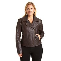 Plus Size Excelled Asymmetrical Leather Motorcycle Jacket