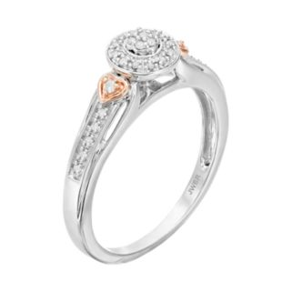 Always Yours Two Tone Sterling Silver 1/10 Carat T.W. Diamond Halo Engagement Ring