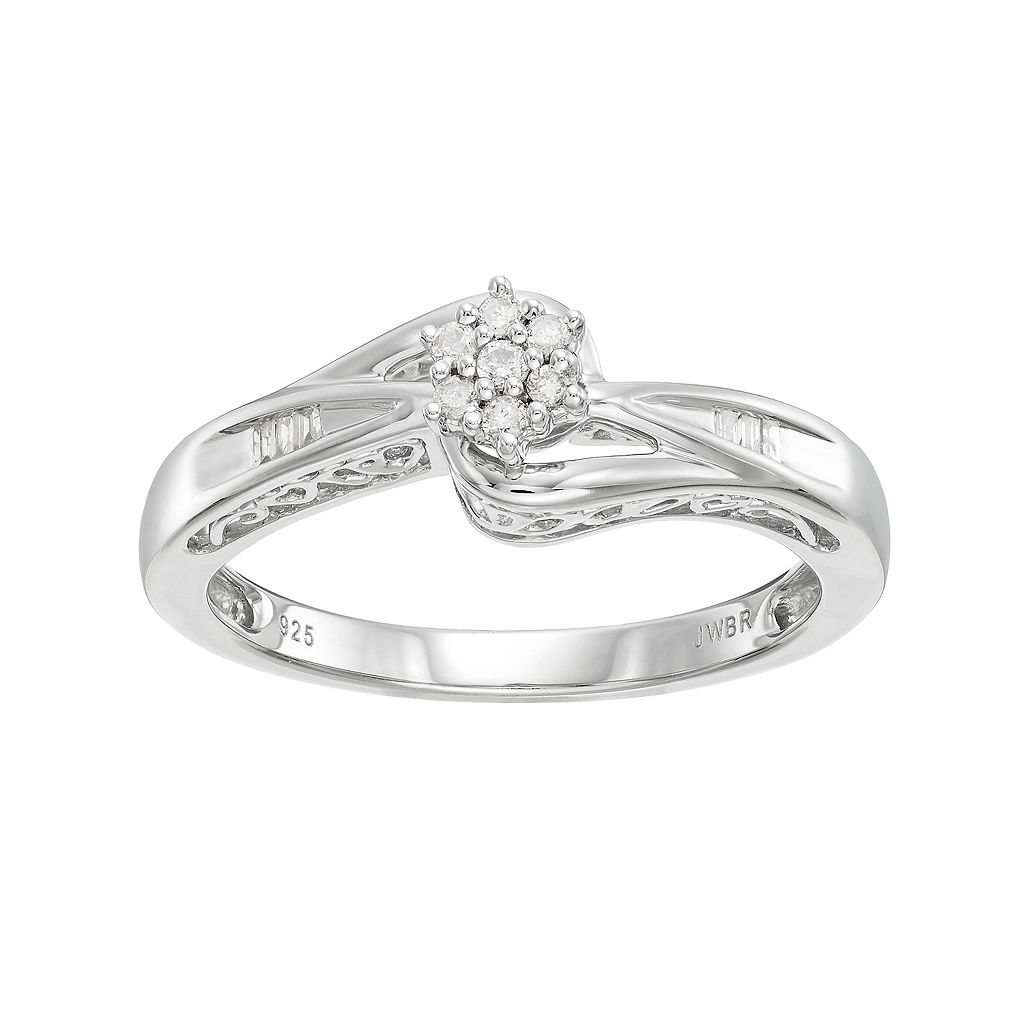 Always Yours Sterling Silver 1/10 Carat T.W. Diamond Flower Engagement Ring