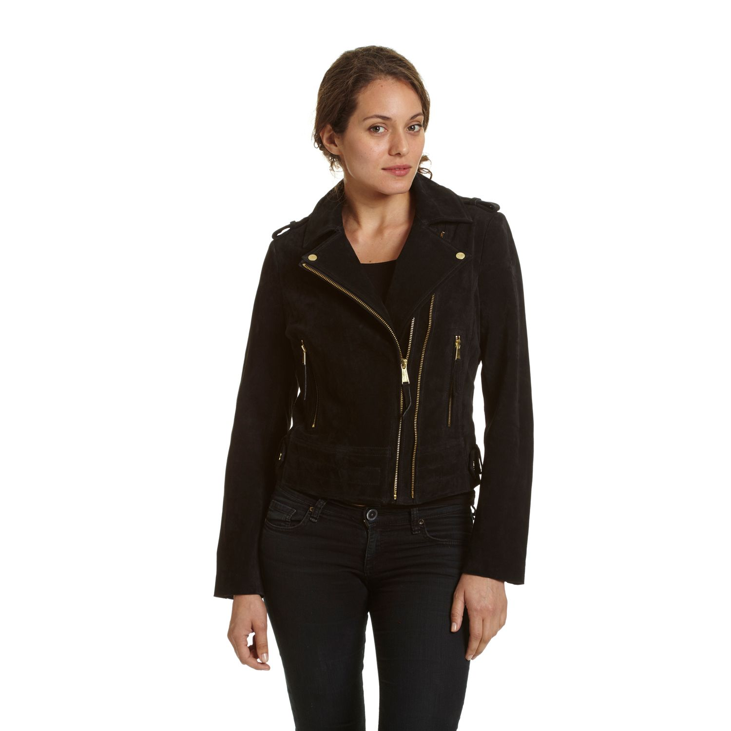 Womens Excelled Asymmetrical Suede Motorcycle Jacket