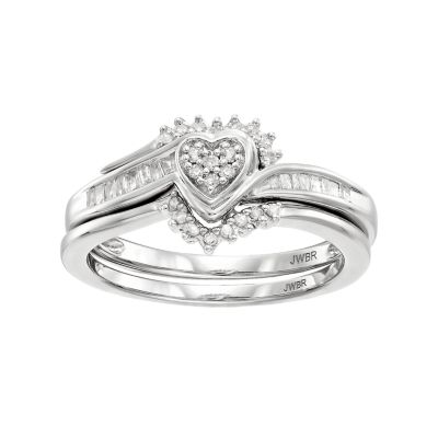 Always Yours Sterling Silver 1/5 Carat T.W. Diamond Heart Engagement Ring Set