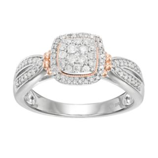 Always Yours Two Tone Sterling Silver 1/3 Carat T.W. Diamond Cushion Halo Engagement Ring