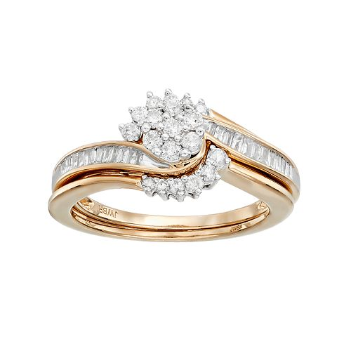 Always Yours 14k Gold Over Silver 1/2 Carat T.W. Diamond Cluster Engagement Ring Set