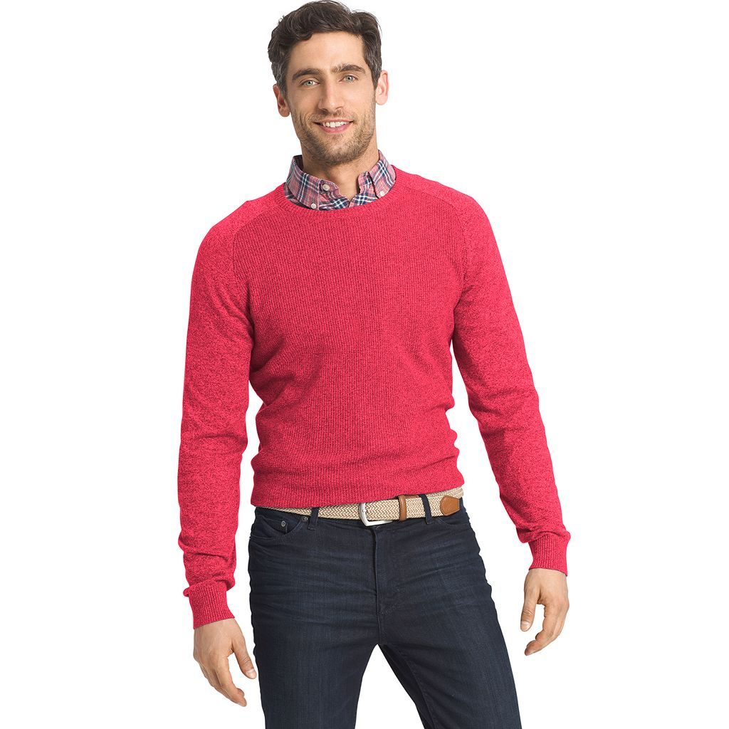 Men's IZOD Classic-Fit 12gg Waffle-Weave Wool-Blend Crewneck Sweater