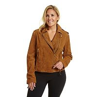 Plus Size Excelled Asymmetrical Suede Motorcycle Jacket