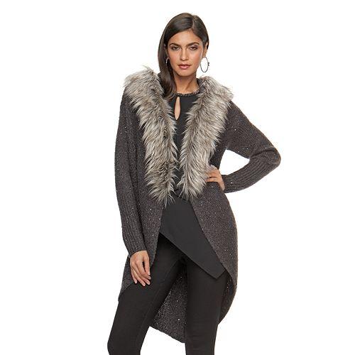 Women's Jennifer Lopez Faux-Fur Trim Long Cardigan